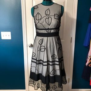 Women's Black & White Sheer Dress